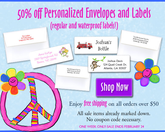 Enjoy 50% off labels and personalized envelopes!
