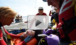 Watch the dramatic rescue of a man who slipped from cliffs on Hilbre Island
